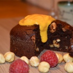 Brownie vegano de Avellanas con crema de Cítricos